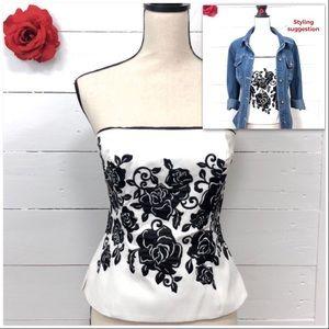WHBM Bustier - Rose Applique black & white size 4